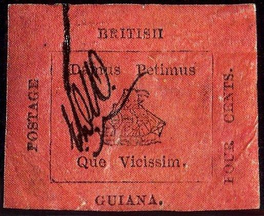 Схожая по оформлению с «Розовой Гвианой» марка номиналом 4 цента