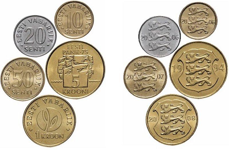 Монеты Эстонии 1994-2008 гг.