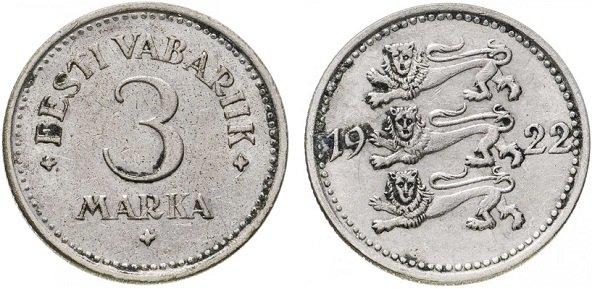 3 марки 1922 года, Эстонская республика, мельхиор
