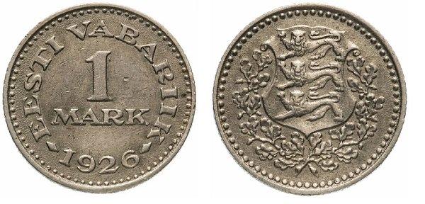 1 марка 1926 года, Эстонская республика, никелевая бронза