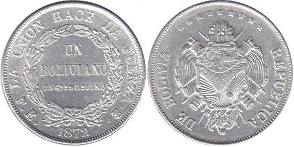 1 боливиано 1872 г.