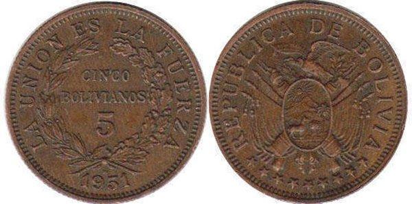 5 боливиано 1951 г.