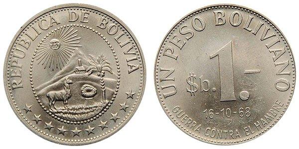 1 песо боливиано 1968 г.