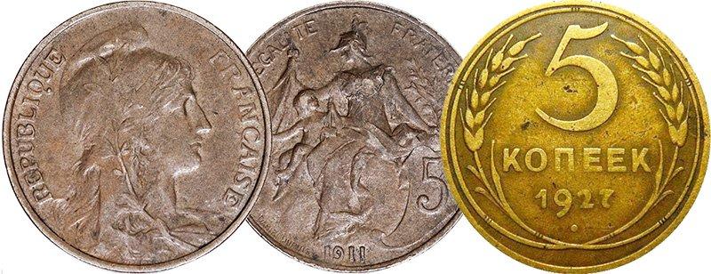Бронзовые монеты Франции и СССР