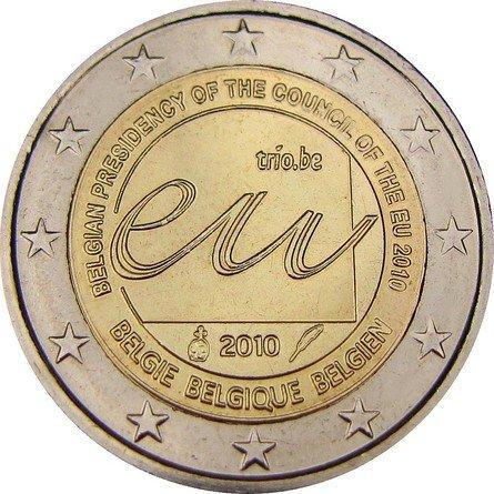 Председательство Бельгии в ЕС. Бельгия. 2010. В центре монеты буквы: eu и trio.be. 2010. По краю внутреннего круга идет надпись: BELGIAN PRESIDENCY OF THE COUNCIL OF THE EU 2010 («Председательство Бельгии в Совете ЕС 2010»). Также на трех языках написано название страны. Каждый из них является официальным: нидерландском – Belgie, французском – Belgique, немецком – Belgien
