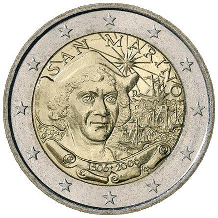 500 лет со дня смерти Х. Колумба. Сан-Марино. 2006. На монете изображен портрет Христофора Колумба. На заднем плане три каравеллы, из которых состоял экспедиционный флот во время первого путешествия через Атлантический океан в 1492 году: Санта-Мария», «Пинта» и «Нинья». Вверху надпись: SAN MARINO