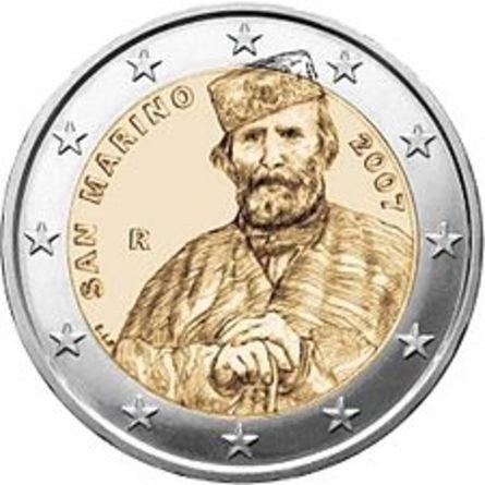 200 лет со дня рождения Джузеппе Гарибальди. Джузеппе Гарибальди. 2007. В центре монеты – портрет Джузеппе Гарибальди. Слева: SAN MARINO