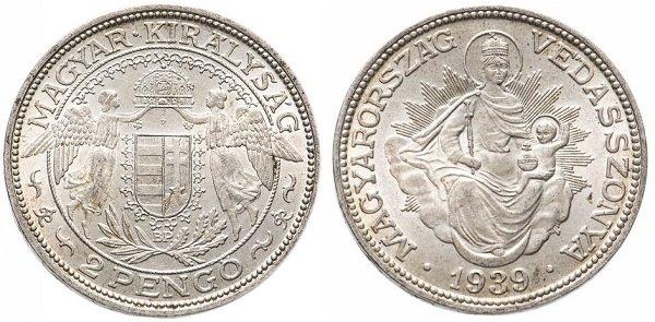 2 пенгё. Венгерское королевство. 1939 год. Серебро. 10 г