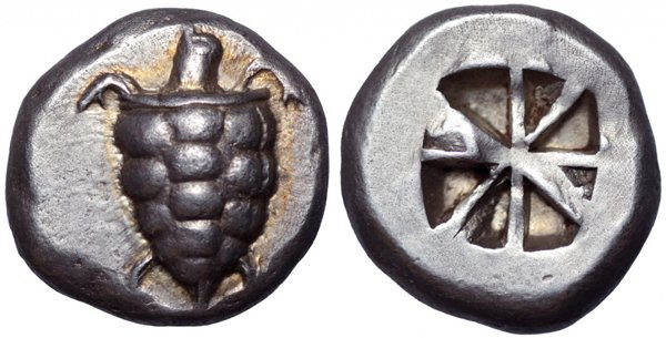 Серебряный статер Эгины, 550-525 г до н.э.