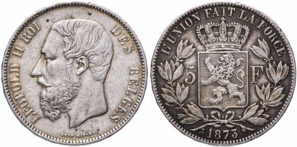 Серебряные 5 франков, Бельгия, 1873 год