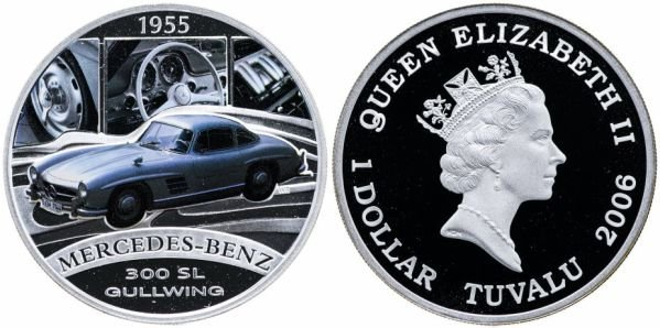 Серебряный доллар Тувалу, серия «Автомобили мира», Mercedes-Benz 300 SL, 2006 год