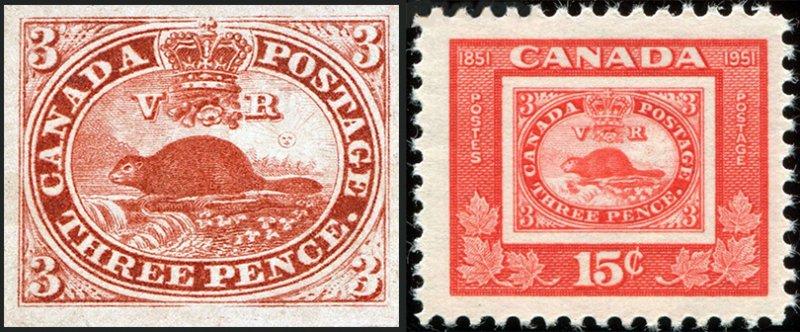 Первая почтовая марка Канады и юбилейная марка в её честь