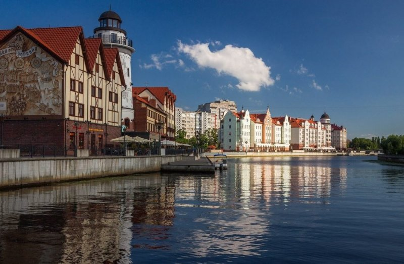 Панорамный вид на набережную города Калининград