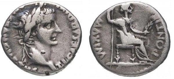 Денарий, Римская империя, Тиберий (14-37 гг.), серебро, 3,7 г