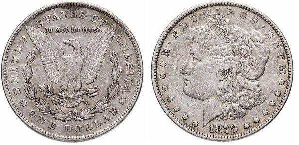США. 1 доллар 1878 года, монетный двор Филадельфии, серебро 900-й пробы, 26,7 г