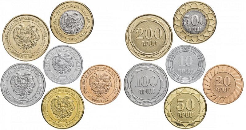 Аверс и реверс разменных монет Армении образца 2003 года