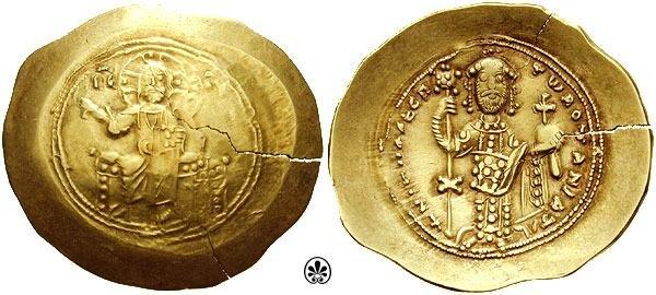 Император Никифор III (1078-1081). Аверс: IC-XC. Иисус сидит на троне с квадратной спинкой, вокруг его головы нимб святости. Он держит Евангелие. Реверс: NIKHFR DEC P TW ROTANIATH. Никифор стоит лицом на скамейке, с бородой, короной и в лоросе. Он держит лабарум (военный штандарт, знамя особого вида) с монограммой на конце древка Иисуса Христа. В другой руке у него держава.