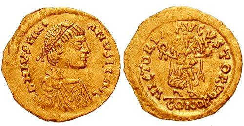 Император Юстиниан I (527-565). Тремис. Аверс: Император в диадеме и задрапированной кирасе. Реверс: Виктория двигается вправо, в руках держит венок и державу.