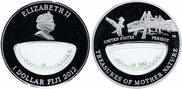 Памятная монета серии «Сокровища матери природы» 2012 год. 1 доллар с камнем перидот (хризолит)