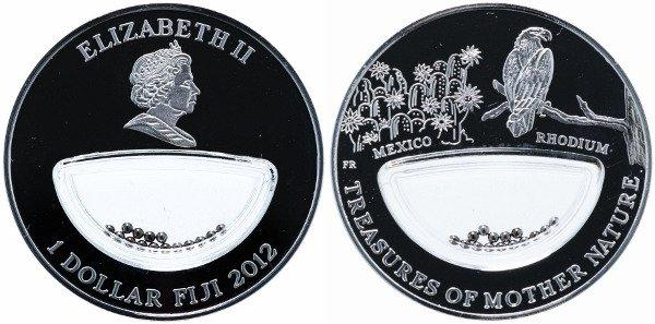 Памятная монета серии «Сокровища матери природы» 2012 г. 1 доллар с родием