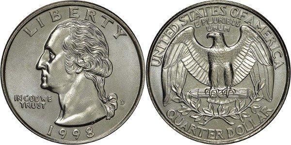 25 центов США. 1998 год