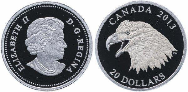 Канадская монета в 20 долларов. Белоголовый орлан (Bald Eagle). 2013 год. Серебро