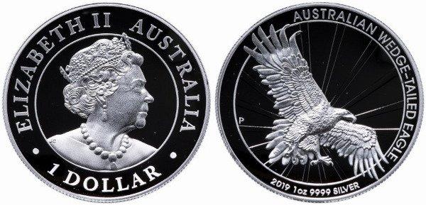 Австралия. 1 доллар.  Клинохвостый орел готовится схватить добычу. Серебро. 2019 год