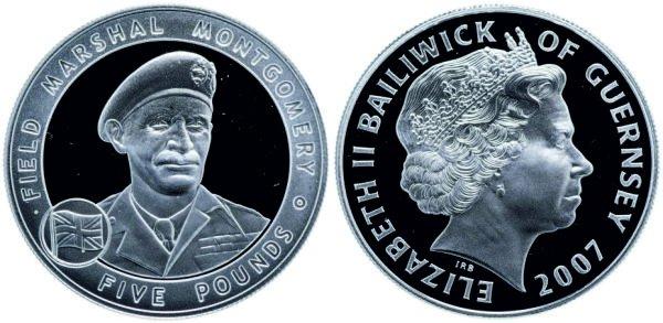 5 фунтов, 2007 год, Гернси. Фельдмаршал Монтгомери