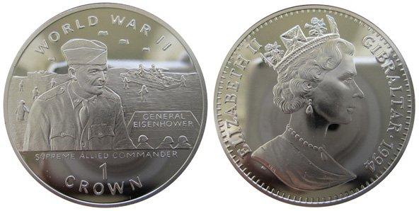1 крона, 1994 год, Гибралтар. Генерал Эйзенхауэр