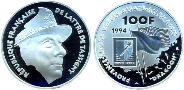 100 франков, 1994 год, Франция. Операция «Драгун», генерал де Латр де Тассиньи