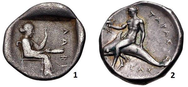 1 - нимфа Лариса с зеркалом и фиалой (чашей для жетвоприношений) в руках на тригемиоболе одноименного города в Фессалии. 460-400 г до н.э. Серебро. 1,3 г. 2 – сын Посейдона Тарант (Тарас) на номосе города Тарента. 280 год до н.э. Серебро. 7,86 г