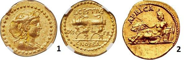 1- самая ранняя римская персонификация Африки в виде женской фигуры в шлеме из головы слона. Рим. Преторы Цестий и Норбан. 43 г до н.э. Ауреус. Золото. 7,96 г. 2 – персонификация Африки в виде полулежащей женщины в шлеме из головы слона. Рядом лев, корзина с фруктами и колосья, символизирующие Египет как главную житницу империи. Ауреус Адриана. 130-133 гг. Золото. 7,11 г