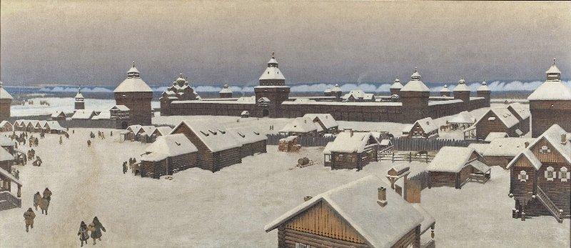 Якутский острог, картина из архива Национального художественного музея Республики Саха (Якутия)