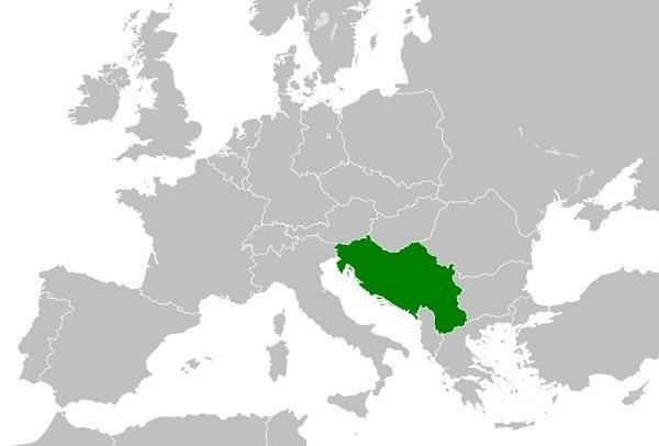 Югославия на карте Европы