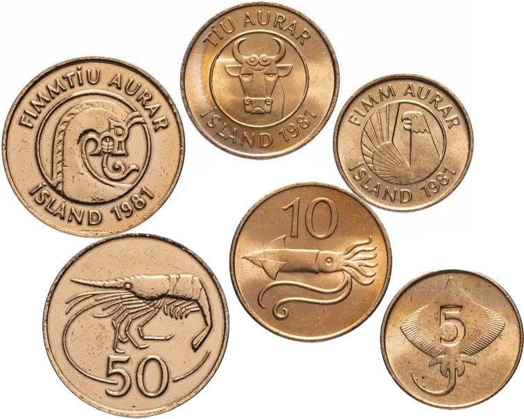 Разменные монеты – 5, 10 и 50 эйре образца 1981 года, выведенные из обращения в 2003 году