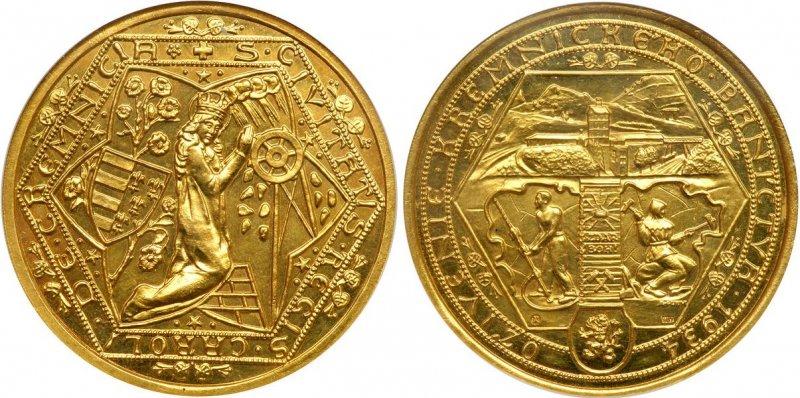 Неофициальная 10-дукатовая медаль «В память о возрождении горнодобычи в Кремнице»  (Чехословакия)