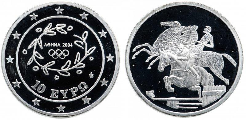 Греция, 10 euro (евро) 2003 года, XXVIII летние Олимпийские Игры в Афинах 2004 - конный спорт