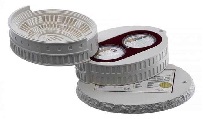 О. Ниуэ, 1 доллар 2014 года, набор монет «Колизей». Материал – серебро 925, масса – 28.28 г., диаметр – 38.61 мм