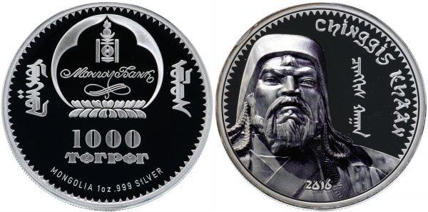 1000 тугриков, Монголия, 2016 год, Чингисхан