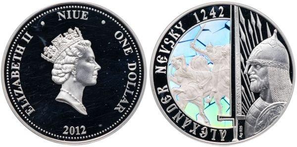 1 доллар, Ниуэ, 2012 год, Ледовое побоище - Александр Невский