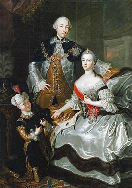 Петр III и Екатерина II с сыном Павлом. Художник — Г.К. Гроот
