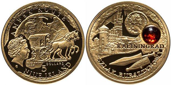 5 долларов «Янтарный путь. Калининград», Ниуэ (Польша), 2008 год