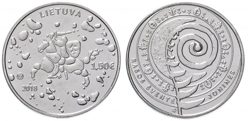 1,5 евро 2018 года «Праздник Йонинес»