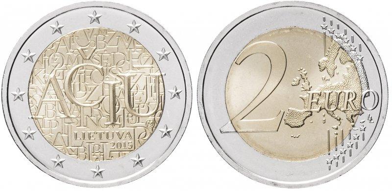 2 евро 2015года «Литовский язык»
