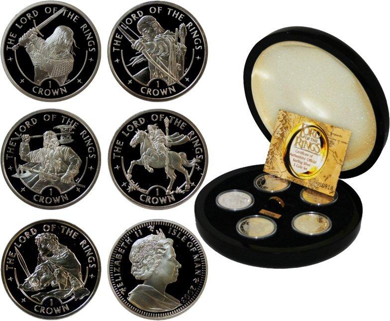 Серебряные монеты «Властелин колец» в подарочном наборе, остров Мэн