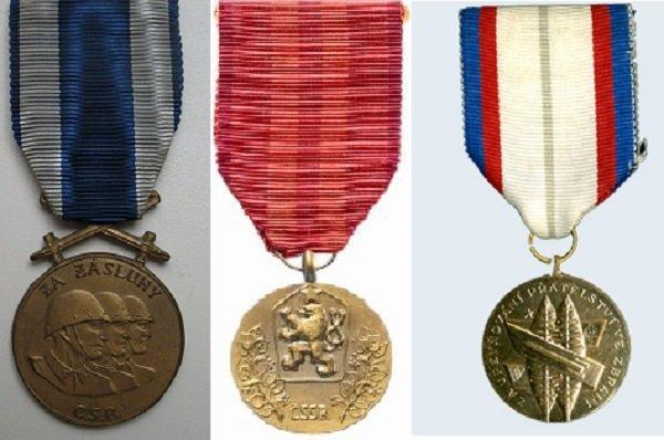 1 – медаль «За заслуги», 2 – медаль «За службу Родине», 3 – медаль «За укрепление дружбы по оружию» (1960-1970-е годы)