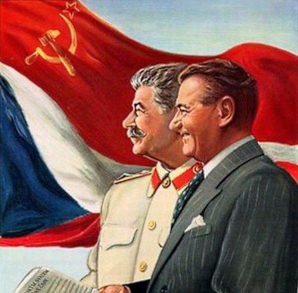 Иосиф Сталин и Клемент Готвальд. Плакат начала 1950-х годов