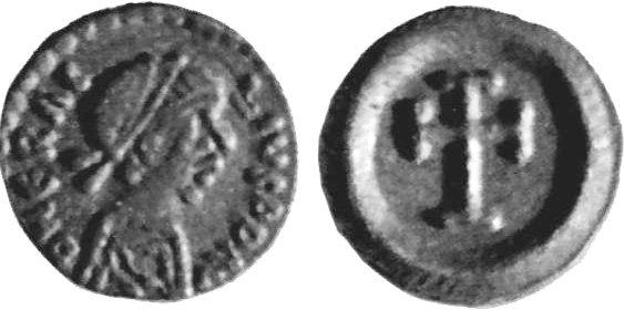 Четверть силиквы. Император Ираклий I (610-641). Аверс: ERACLIO PP AV. Лицо в короне в профиль. Реверс: крест. Вес 0,4 г.
