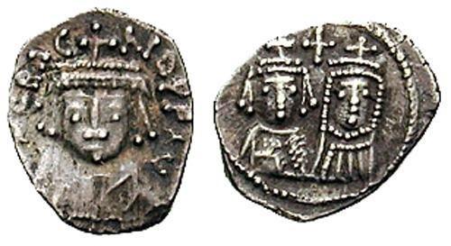 Половина силиквы. Император Ираклий (610-641) и его жена Мартина. Аверс: ERACLIO PP AV. Лицо императора в короне. Реверс: Лица Ираклия и Мартины. Вес 0.64 г.