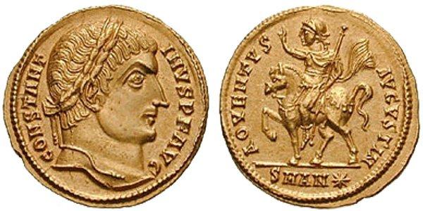 Император Константин Великий (306-337) Аверс: император смотрит вправо, на его голове лавровый венок. CONSTANT-INVS AVG. Реверс: ADVENTVS AVGVSTI N. Константин верхом на коне, поднимает правую руку, в левой скипетр. Вес монеты 4,38 г.